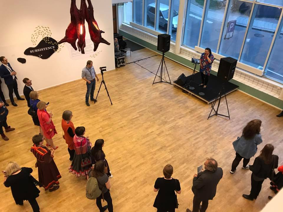Allison Akootchook Warden performs during Arctic Arts Summit