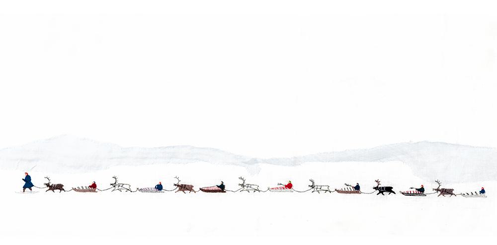 Detalj fra Britta Marakatt-Labbas «Historja». Foto: Ola Röe (KORO/UiT)