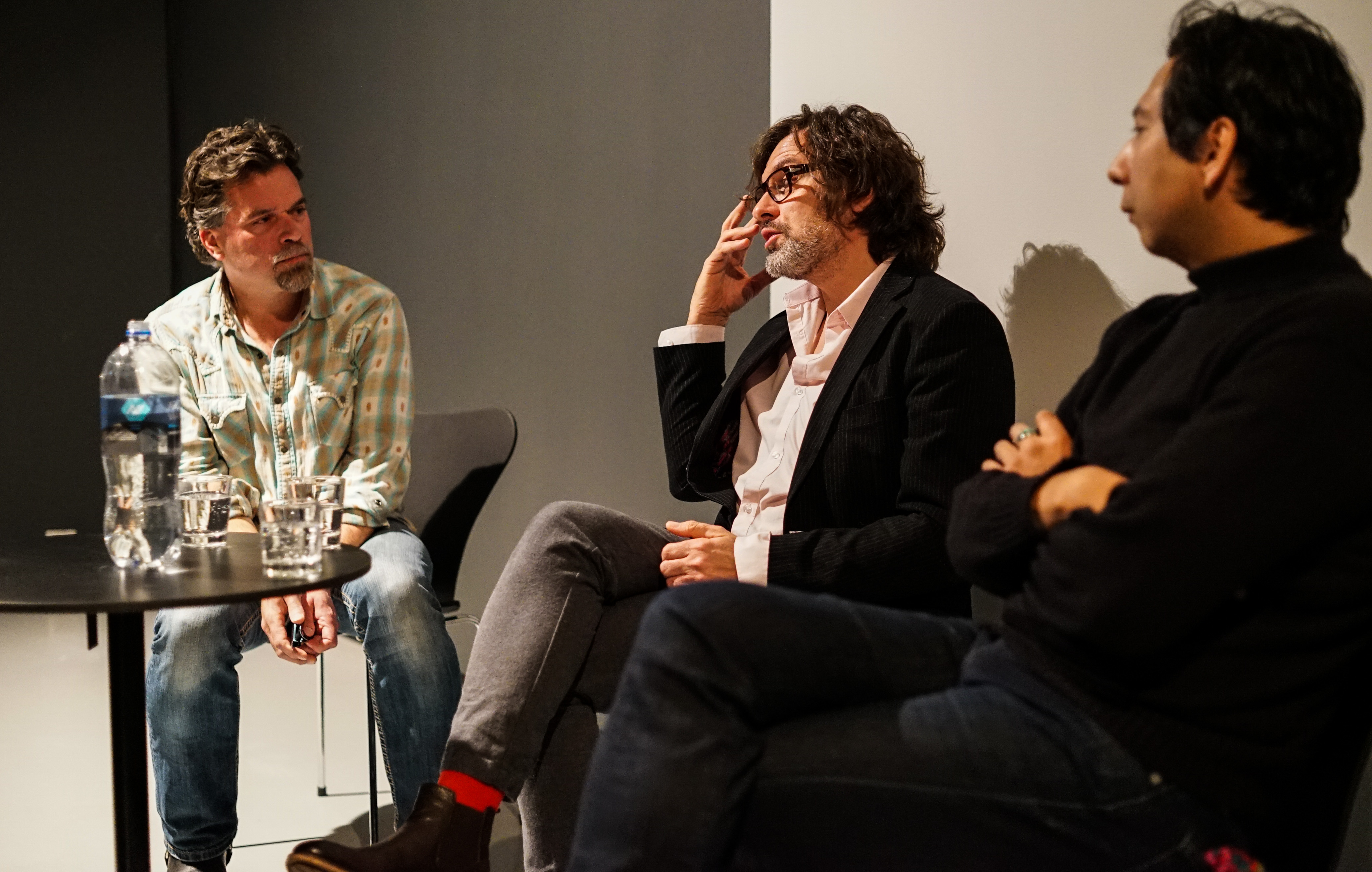 Michael Walsh, Marek Ranis and Sky Hopinka in discussion