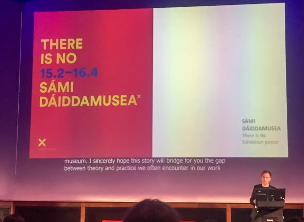 Direktør Jérémie McGowan presenterer Sámi Dáiddamusea på MuseumNext. Foto: Malthe Bjerregard