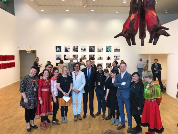 Foreign minister Børge Brende and artists an curators of «Subsistence»